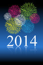 New year celebration background with colorful fireworks on blue background Royalty Free Stock Photo