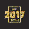 New year celebration background with confetti happy colorful digital type on black gold greeting card template Royalty Free Stock Photo