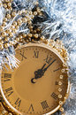 New year celebration festive eve arrangement with clock showing twelve o clock Royalty Free Stock Images