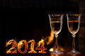 New year celebration two champagne glasses in front of fire Royalty Free Stock Photos