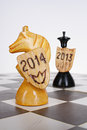New year chess abstract concept knight as a symbol Stock Images