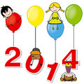 New year children playing with the numbers and balloons Royalty Free Stock Images