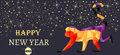 New Year, Christmas banner, symbol of red monkey made from triangles.