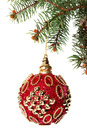 New Year. Christmas. Beautiful round red Christmas toy hanging o Royalty Free Stock Photo