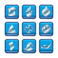New year christmas blue icon set Stock Photos