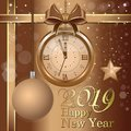 New Year 2019. Christmas card with golden clock
