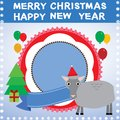 New year christmas card with sheep vector illustration Royalty Free Stock Photos