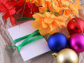 New year christmas celebration balls flowers and invitation card Royalty Free Stock Image