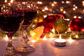 New year and christmas charm red wine ornaments candles as a decoration photography Stock Photography