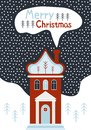 New year and Christmas greeting card. Merry Christmas house. Cartoon vector illustration. Snowy night in cozy christmas town city Royalty Free Stock Photo