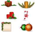 New Year and Christmas icon set Royalty Free Stock Images