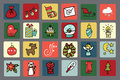 New year christmas icons button set winter colored many different decorative elements for winter holidays in square buttons trendy Stock Image