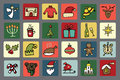 New year christmas icons set winter colored many different decorative elements for winter holidays in square buttons trendy flat Stock Photography