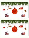 New Year Christmas. Set different hanging ornaments Santa hat, deer, heart, gift, dog and Christmas tree in color Royalty Free Stock Photo