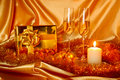 New Year Christmas still life in golden tones Royalty Free Stock Image