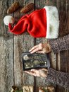 New Year, Christmas, Tablet computer, human hands, gift boxes, c