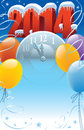 New year with clock and balloons decoration Stock Photography
