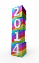 New year colored cubes d render on white and clipping path Stock Photos