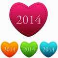 New year in colorful hearts four Stock Images