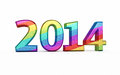 New year colorful metal render on white and clipping path Stock Photography