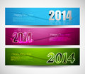 New year colorful three headers and banners set Stock Photos