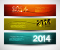 New year colorful three headers and banners set design Stock Image