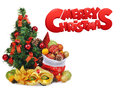 New year composition with christmas tree, santa claus bag full of toys and carnival mask Royalty Free Stock Photo