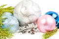 New year composition with fir tree, beautiful silver ball and si