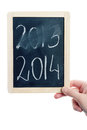 New year concept hand holding blackboard with written on it Stock Photography