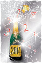 New year countdown a bottle of champagne labeled pops up with a from to in red and lots of sparkles Royalty Free Stock Photos