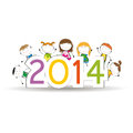 New year cute and colorful card on Royalty Free Stock Image