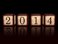 New year in d wooden cubes over black background with ciphers retro concept Stock Photography