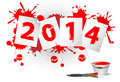 New year date of written in red paint on paper surrounded by drops of paint Stock Photo