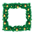 New year decoration frame of branches of christmas tree decorated with gold christmas toys Stock Photography