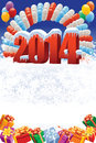 New year decoration on white winter background with balloons and gifts Stock Photo