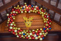 New Year decorations with colourfull balls and deer Royalty Free Stock Photo