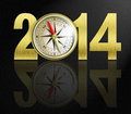 New year digits with golden compass illustration Stock Images