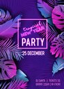 New Year Disco Tropic Party Vector Poster, Christmas Summer Holiday Flyer, Neon monstera palm leaves design Royalty Free Stock Photo