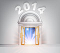 New year door concept of a fantastic white marble with columns with light streaming through it Stock Images