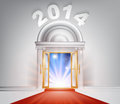 New year door concept of a fantastic white marble with columns and a red carpet with light streaming through it Stock Images
