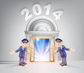 New year door and doormen concept of a hoding open a to the with light streaming through it Stock Photo
