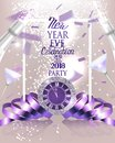 New year eve celebration invitation card with flying confetti, curly ribbons and bottles and glasses of champagne. Royalty Free Stock Photo