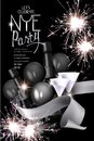 New year eve party invitation card with sparklers, bottle of champagne, ribbon and glasses.