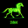 New year fire horse green on black background Stock Photos