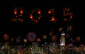 2015 New Year Fireworks celebrating over city at night. Royalty Free Stock Photo