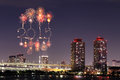 2015 New Year Fireworks celebrating over Tokyo cityscape Royalty Free Stock Photo