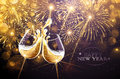 New Year fireworks and champagne Royalty Free Stock Photo