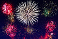 New year fireworks display on the sky Royalty Free Stock Image