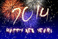 New year fireworks happy on dark blue and black background with stars and Royalty Free Stock Photography