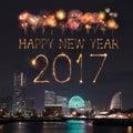 2017 New Year Fireworks over marina bay in Yokohama City, Japan Royalty Free Stock Photo